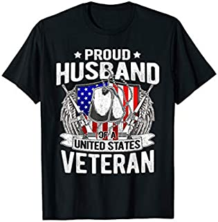 Best Gift Mens Proud Husband Of A US Veteran Dog Tag Military Spouse Gift  Need Funny TShirt / S - 5Xl