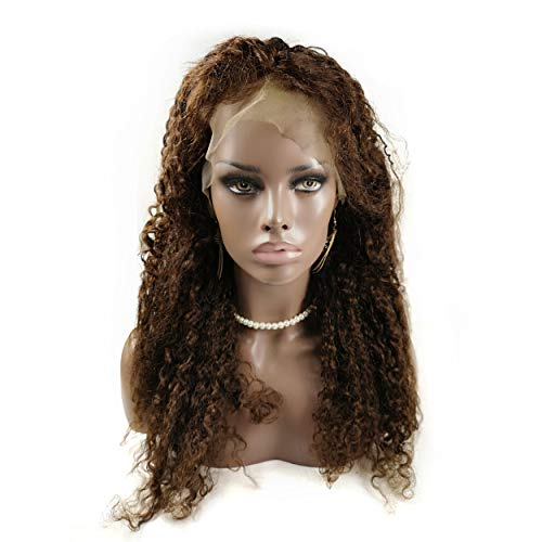 """Stock-Wig! Afro Kinky Curl Wigs 20"""" Human Hair Lace Front Wig Medium Brown"""
