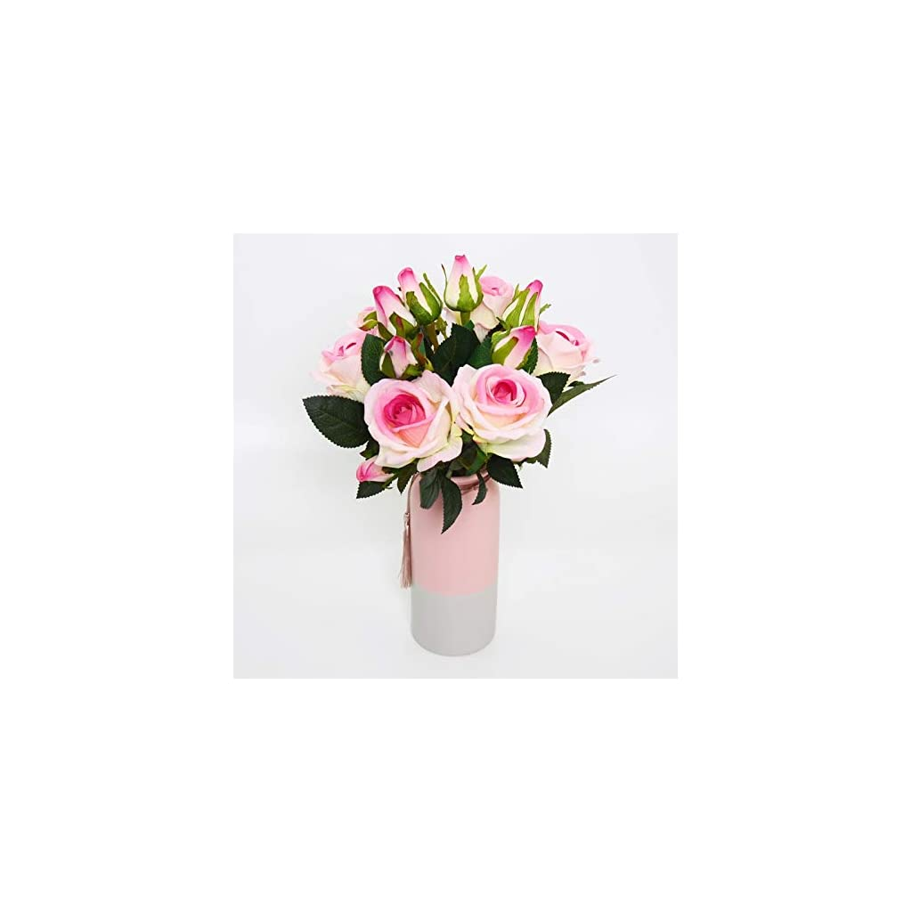 Artificial Flowers Fake Flowers Silk Artificial Roses 3 Heads Bridal Wedding Bouquet Set 6 PCS Home Garden Party Wedding Decoration DIY Real Touch (Pink/White)