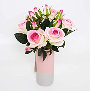 Artificial Flowers Fake Flowers Silk Artificial Roses 3 Heads Bridal Wedding Bouquet Set 6 PCS Home Garden Party Wedding Decoration DIY Real Touch 24