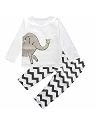 Mary ye Baby pajama 2PCS Elephant Boys Girls Pajama Set Nightwear Cotton 4-24M