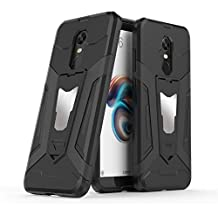 Xiaomi Redmi 5 Plus Case, Ranyi [3 Piece Full Body Armor] [Built-in Kickstand] [Shock Absorbing] Metal Texture Rugged Rubber 360 Protective 3 in 1 Case for Xiaomi Redmi 5 Plus (black)