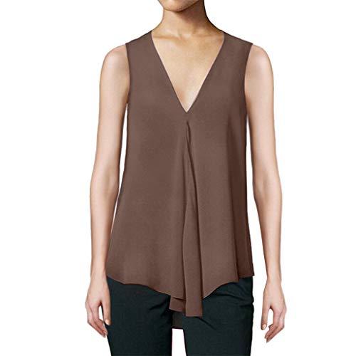 CCatyam Plus Size Tanks Top for Women, Sleeveless V Solid Chiffon Loose Vest Fashion Bronze