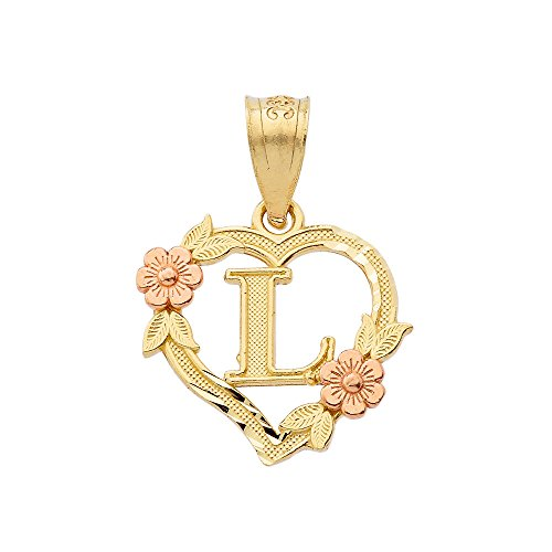14k Two-Tone Initial Heart Pendant for Women in Yellow and Rose Gold - Letter L