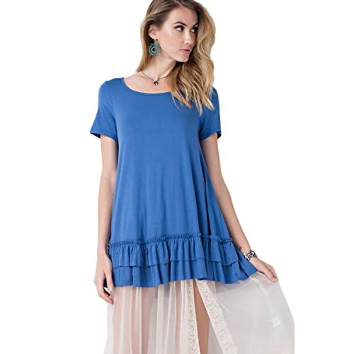 Easel Women's Short Sleeve Double Ruffle Hem Knit Tunic