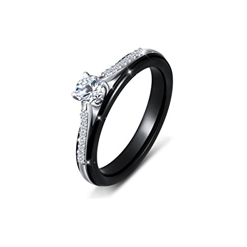 (SILVER MOUNTAIN Black Ceramic S925 Sterling Silver Princess Rings for Bride Women Mother Wedding Engagement Rings)