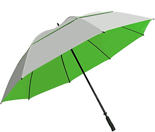 "Suntek 68"" Reflective UV Protection Windcheater Umbrella with Vented Double Canopy (Silver/Green)"