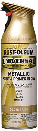 RUST-OLEUM 330504 12 oz Gilded Brass Metallic Paint (Spray Brass Paint Metallic)