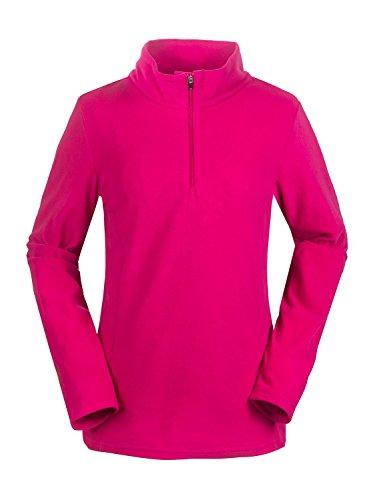 aparso Damen Fleeceshirt Fleece Pullover Skirolli Ski Fleecejacke warm pink schwarz (Beere, M)