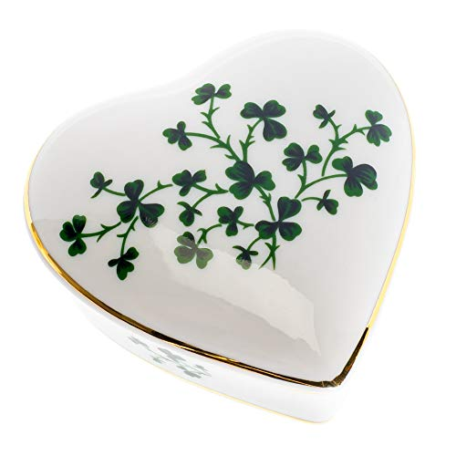 (CBE All Shamrocks Heart Shaped 3 x 3 Inch Porcelain Trinket Jewelry Box)