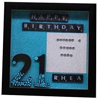 Trimming Shop Personalizado Madera Cumpleaños Marco con Scrabble Letras, Purpurina Papel, Personalizar Nombre para Regalar, Decoración de Pared - Frm31: Amazon.es: Hogar