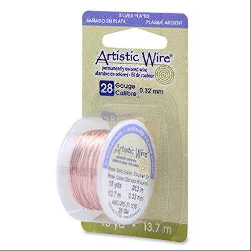 Beadalon 28AWG-21 28 Gauge Permanent Colored Copper Wire, 15-Yard, Rose - Permanent Copper Wire Colored