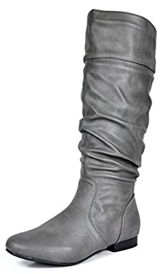 DREAM PAIRS Women's BLVD Grey Pu Knee High Pull On Fall Weather Boots Wide Calf Size 8 M US