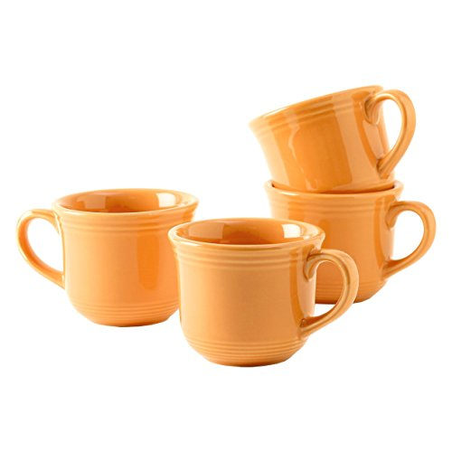 Tuxton Home Concentrix Round Cup (Set of 4), 8 oz, Saffron Yellow; Heavy Duty; Chip Resistant; Lead and Cadmium Free; Freezer to Oven Safe up to 500F