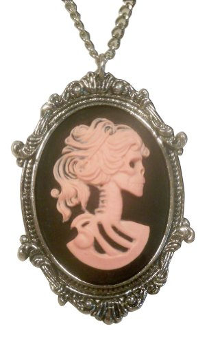 Real Metal Gothic Lolita Skull Cameo Pink on Black in Pewter Frame Pendant Necklace