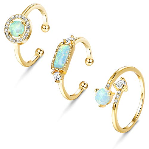 Hanpabum 3PCS 5-9 Size CZ and Opal Rings for Women Teen Girls Fashion Chic Design Finger Opening Adjustable Sliver & Gold & Rose-Gold Plated Wedding Engagement Ring Set