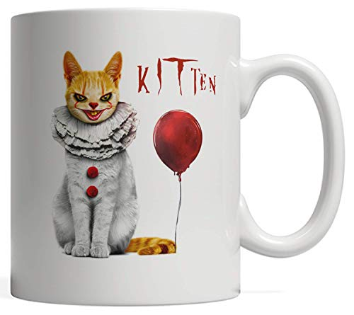 We All MEOW Down Here Clown Cat Kitten Mug | Great Gift for Fans of Horror Movies, Occult & King! For Friends who Love Reading Lovecraftian Stories - Fantasy and Scary Monsters Mug ()