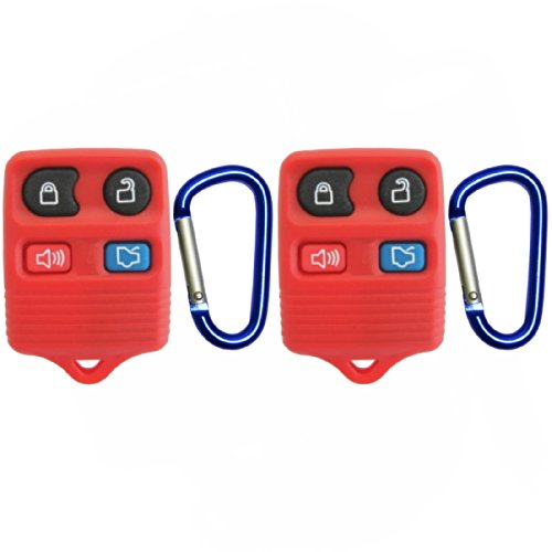 Discount Keyless Pair of Red Replacement 4 Button Automotive Keyless Entry Remote Control Transmitters with a Pair of Key Clips Compatible with Ford, Lincoln, and Mercury Vehicles