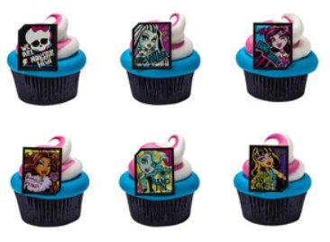 Monster High Cupcake Rings Party of 24 Cupcake Decoration -