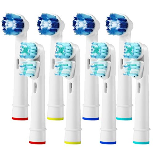 ( Generic Braun Compatible Replacement Brush Heads,Pack of 8 Electric Toothbrush Assorted Heads Refill (4 Precision Clean + 4 Dual Clean))
