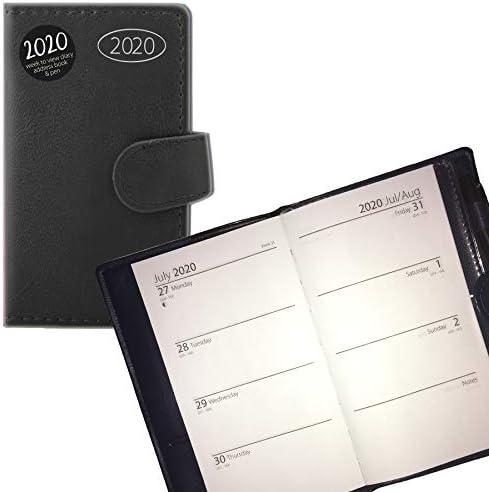 Terminplaner für 2020 0761, Adressbuch und Stift, schlankes Design, Schwarz