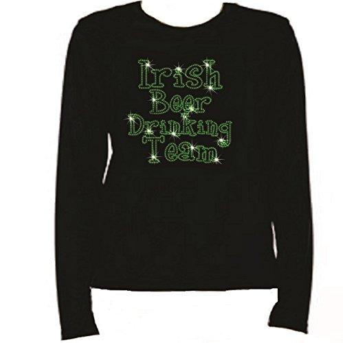 Rhinestone Irish Beer Drinking Team Women T Shirt LR T7Z8 (L, Black)