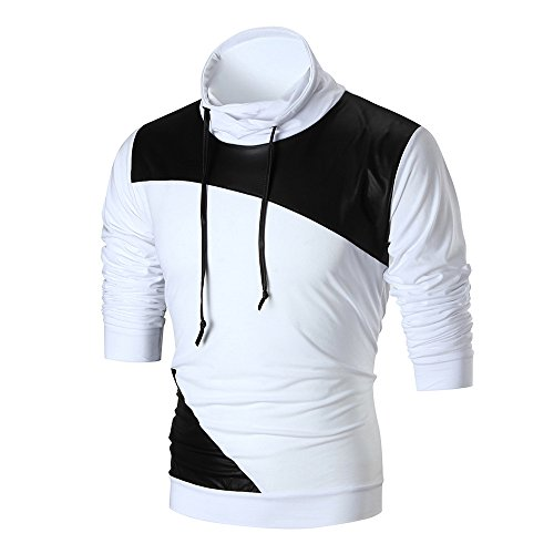 2018 Newest Mens Shirt ! Charberry Mens Stitching Skin Long Sleeve Pullover Sweatshirt Tops Outwear Blouse (US-XL/CN-L2, White) by Charberry