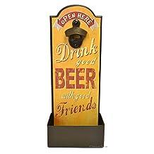 Yellow Retro Wooden Wall Mount / Tabletop Beer Coke Bottle Opener with Cap Catcher