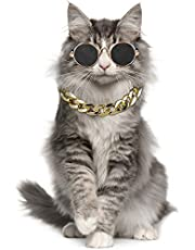 Pet Sunglasses Creative Fashion Metal Cat Sunglasses Pet Glasses with Necklace Pet Supplies