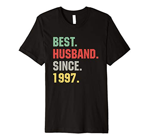 (Mens Best Husband Since 1997 Funny 22nd Wedding Anniversary Gift Premium T-Shirt)