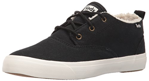 Keds Dames Triomf Mid Canvas Faux Shearling Fashion Sneaker Zwart