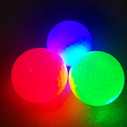 Glow Golf Balls, ZLIXING Led Golf Balls Novelty Golf Ball Funny Golf Ball Colored Golf Balls, Light up Golf Balls Professional Practice Golf Balls Glow in Dark for Night Sports (3 Pices) by ZLIXING (Image #2)