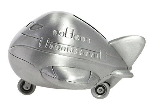 JustNile Distressed Vintage Engraved Metal Piggy Bank Savings/Coin/Money Box - Mini Airplane, Satin Brass Finish - Airplane Piggy Bank For Boys