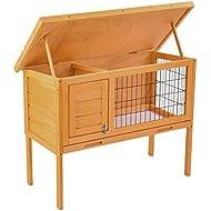 SUNCOO Wooden Rabbit Hutch Chicken Coop Outdoor Bunny Animal Cage with Indoor Lounge Area
