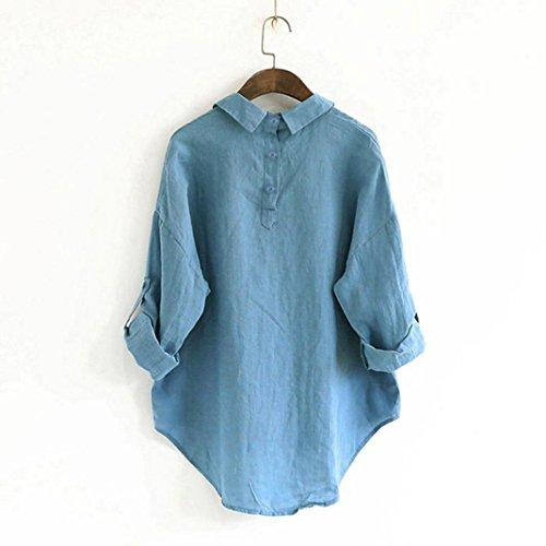 Bluse Donna Lino Blu T E Top Lunga Bottone Manica Lunga Cotone Casual Da Meibax Di Camicetta Loose Shirt Pullover Camicie ZqFRwfx