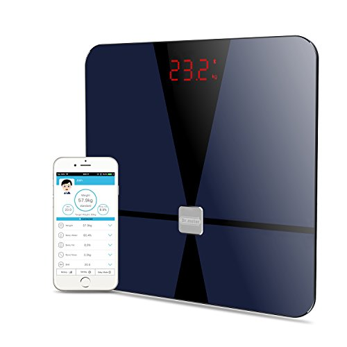 [Bluetooth Body Fat Scale] Dr.meter Digital Weight Bathroom Scale with IOS and Android App Smart Body Monitor for Body weight, Body Fat, Water, Muscle Mass, BMI, BMR, Bone Mass and Visceral Fat Doctor Weight Scale