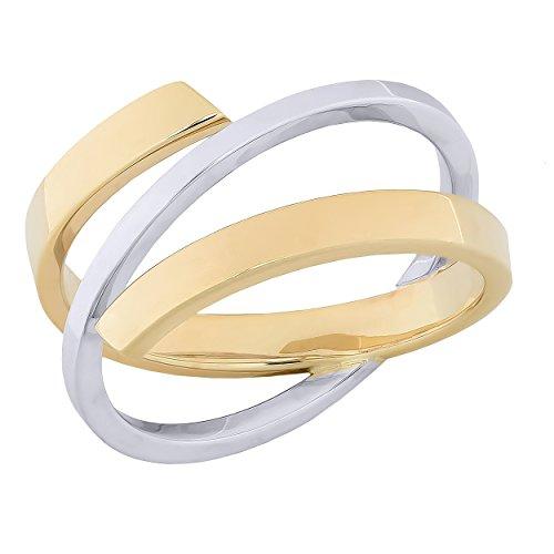 Kooljewelry 10k Two-Tone Gold High Polish Stylish Bypass Ring (size 8) High Polish Bypass Ring