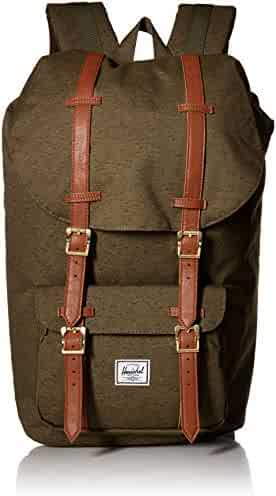 Herschel Supply Co. Little America Backpack, Ivory Green Slub Tan Synthetic  Leather, 5a2cb1e002
