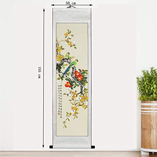 Traditional Chinese Scroll Painting - Hand Painted by Master Aiming Wu 30 Year Experience with Writing Brush Home Décor for Living Room Bedroom Office - Gift Packaged (Parrot with pear Blossoms)