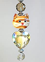 Glass Fawn Tabby Cat and Heart Ceiling Fan Pull Chain