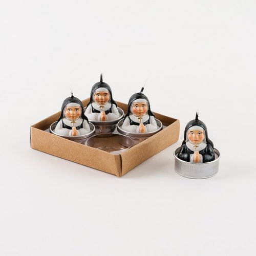 Praying Nun Tea Light Candles Set of 4 in Gift Box So Cute NEW Religious by 180 Degrees