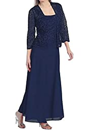 Aokaixin Women Long Mother of the Bride Plus Size Formal Lace Dress with Jacket