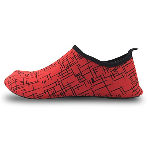 SENFI Lightweight Quick-Dry Water Shoes For Water Sport Beach Pool Camp (Men, Women, Kids) Y.02red