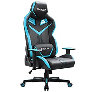 Homall S-RACER Series Gaming Chair Executive Swivel Office Chair Ergonomic Racing Chair High Back Desk PU Leather Computer Chair Tilt E-sports Chair With Headrest and Lumbar Support(Blue)