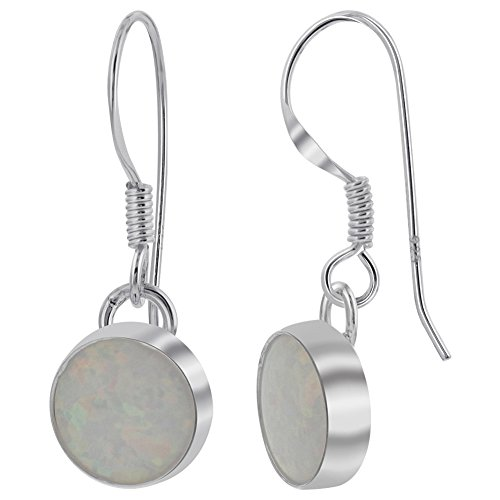 (925 Sterling Silver Created White Opal 8mm Round Drop Earrings with French Wire Hook)