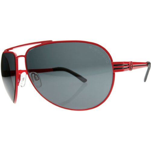 Electric Bullitt Sunglasses - Electric Men's Race Wear Eyewear w/ Free B&F Heart Sticker - Vinyl Red/Grey / One Size Fits All