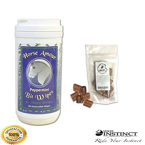 Horse Bit cleaner Bit Wipes - Preferred By Equestrians For Cleaning & Accepting The Bit - USA Made - Your Horse Will Love The Peppermint - No Sugar Added - Plus Mikes Instinct Horse Treats (40 ct.)