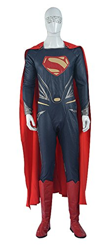 Mtxc Men's Man of Steel Cosplay Costume Superman Full Set Size Small Blue (Superman Cosplay Costume)