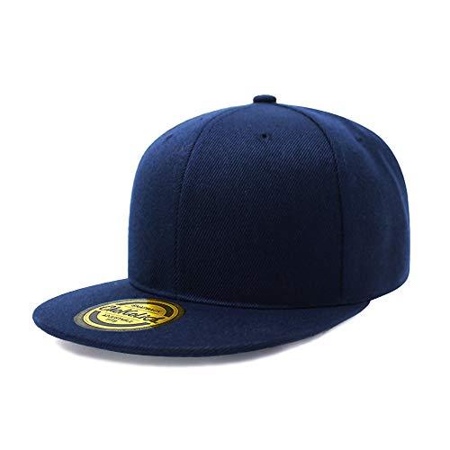 (Flat Visor Snapback Hat Blank Cap Baseball Cap - 8 Colors (Navy))