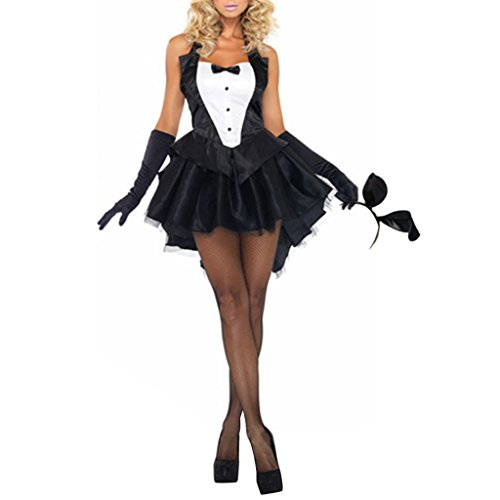 ShangYi Womens Halloween Tuxedo Bunny Dress +Headband+Gloves Black XL -